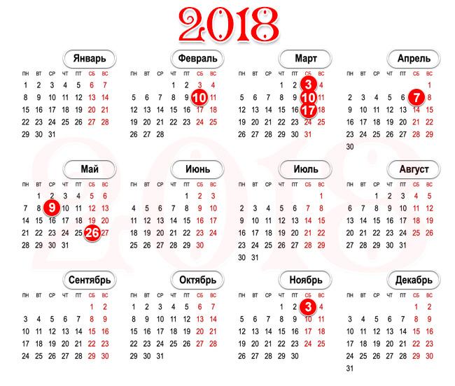 поминальный календарь 2018