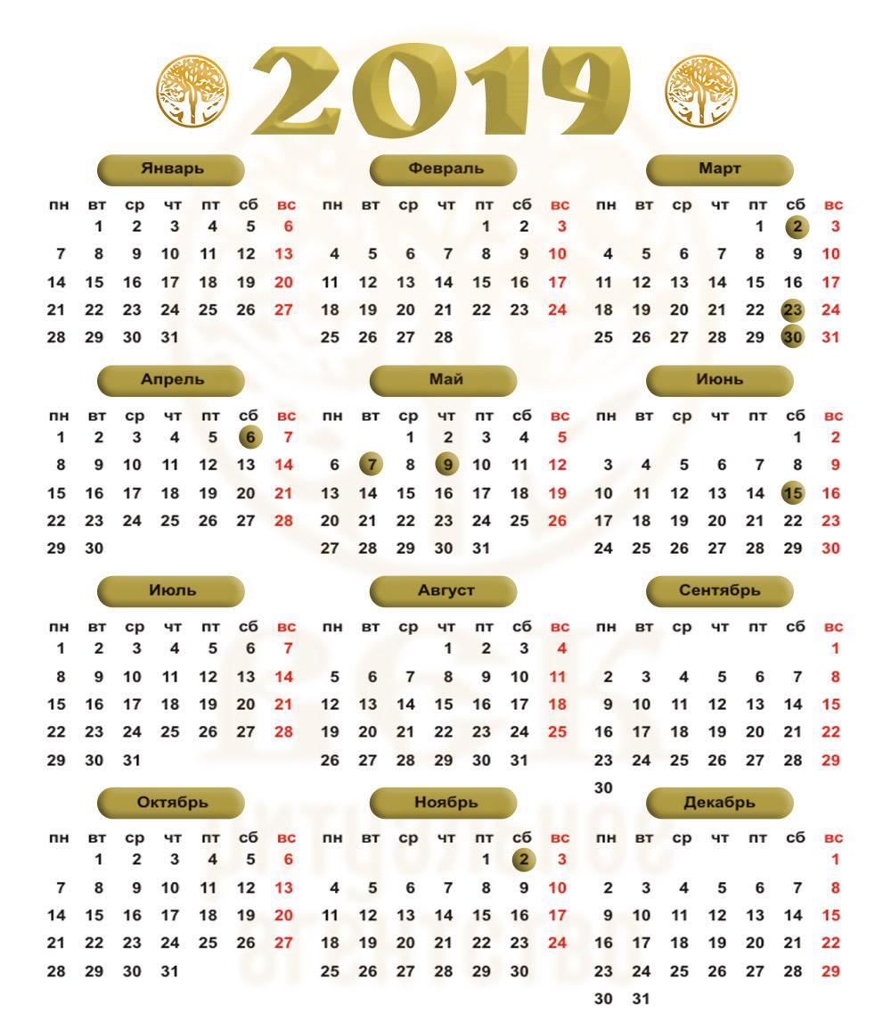 поминальный календарь 2019