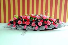 Flower arrangement on the coffin